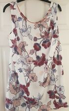 Womens NEXT Tunic Size 14 Rose Gold Beaded Neck Floral White Burgundy Red Top