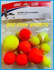 10 EAGLE CLAW FOAM FLOAT ASSORTMENT Round Floats Bobbers SNAP ON FLOAT #RFFASST1