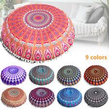 Large Mandala Floor Pillows Round Bohemian Meditation Seat Cushion Cover Pouf