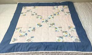 Patchwork Crib Quilt, Nine Patch, Kitty Cat Print, Light Pink, Blue, White