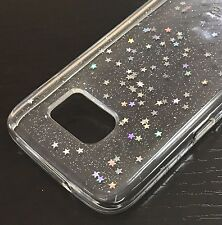 For Samsung Galaxy S7 Edge - HARD RUBBER GUMMY CASE COVER CLEAR GLITTER STARS