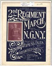 Rare Antique Original VTG 1905 NG NY 2nd Regiment March Piano Sheet Music Print