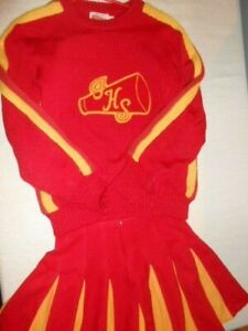 Vintage wool Cheerleading Uniform THS Sweater Skirt red & athletic gold med sz 7