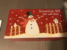 Snowman Making Decorating Kit Building Set In Wooden Reusable Box