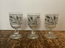 Vintage Libbey Silver Wheat Glass Goblet Set of 3