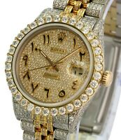 Rolex Mens Datejust 16013 Two-tone 36mm Full High Quality Diamond Watch-Quickset