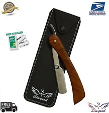 Professional Barber Hair Shaving Razor Straight Knife  With Free 10 Blade