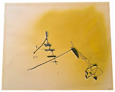 ORIGINAL! YELLOW 1952 ENRICO DONATI OIL PAINTING - ABSTRACT EXPRESSIONIST PERIOD