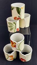 """Floral Napkin Rings Set Of 6 White Plastic 1 5/8"""" x 1 11/16"""" Wildflowers"""