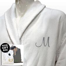 Pijamas y batas de hombre de manga larga blancos de 100% algodón