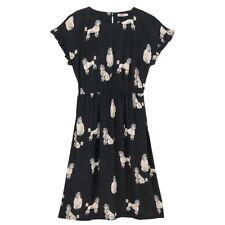 BNWT CATH KIDSTON POODLE FRILL SLEEVE BLACK DRESS UK 10 VINTAGE TEA DOGS PUPPIES