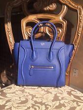 Celine micro luggage tote handbag in blue