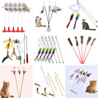 Multi Funny Pet Cat Kitten Toy Mouse Teaser Wand Feather Rod Cat Play Toys Gift