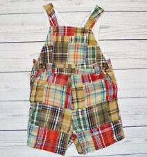 Infant Boys 12 Month GREENDOG Shortalls Overalls Outfit Madras Plaid Patchwork