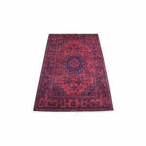 "3'5""x4'10"" Saturated Red Afghan Khamyab Hand Knotted Soft Wool Rug R67870"