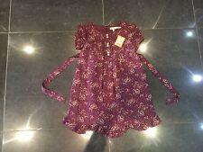 NWT Juicy Couture New & Gen.Burgundy Silk Blend Ruffle Frill Dress Girls Age 8