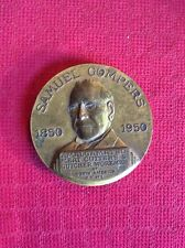 Original 1950 Samuel Gompers Brass Paperweight - medal A.F.L. meat cutters union