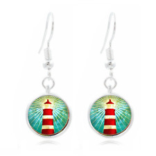 Lighthouse Art Tibet Silver Dome Photo 16MM Glass Cabochon Long Earrings #290