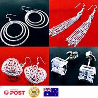 Earrings 925 Sterling Silver S/F Diamond Simulated Dangle Drop Hoop Stud Design