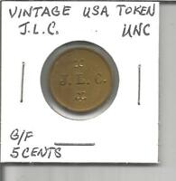 (L) Vintage USA Trade Token G/F 5 Cents J.L.C.