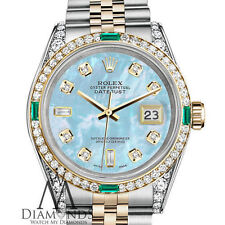 Ladies Rolex SS & Gold 26mm Datejust Baby Blue MOP 8+2 Diamond Emerald Watch