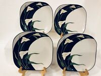 "Set Of 4 VTG Sango BLACK LILIES Quadrille 7 ½"" Rounded/Square Salad Plates #5101"