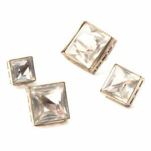 (4) Antique Victorian Czech crystal glass rhinestone square silver metal buttons