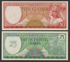 Suriname  10 & 25 Gulden Notes - 1963/1985 - P121/P127b