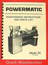 Powermatic M 90 12 Wood Lathe Operating Amp Parts Manual 0547