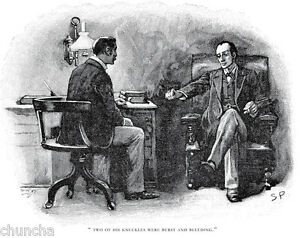 Sherlock Holmes and Dr Watson print drawn by Sidney Paget 1893