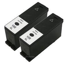 2 pk 100XL Bk HY Ink Cartridge For Lexmark 100 xl PRO 205 206 705 805 901 905