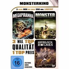 3 Filme Megapiranha & Sherlock Holmes & Monster ( Action-Sci-Fi ) NEU OVP