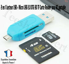 2 en 1 Lecteur USB + Micro USB 2.0 OTG SD TF Carte Reader pr PC Portable Mobile*