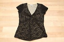 CABi Knit Blouse Top Shirt #354 Sz: Medium See Through Black & Tan