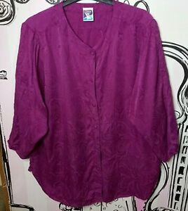 Size 18 Vintage C&A Yessica Purple Paisley Pattern 3/4 Sleeve Shirt Blouse