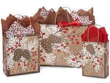 125 Woodland Berry Pine Winter Christmas Tree Holiday Paper Shopping Gift Bags