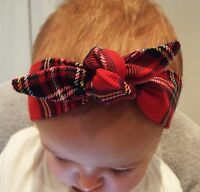 RED TARTAN CHECK HEADWRAP WRAP HEADBAND KNOT BOW BABY TODDLER GIRLS NEW