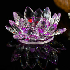 Purple Crystal Glass Lotus Flower Candle Tea Light Holder Candle stick Decor Gif