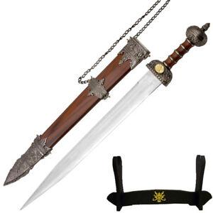 Medieval Roman Legionnaire's Gladiator Gladius Sword, Scabbard & Display Stand