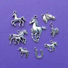 Horse Charm Collection Antique Silver Tone 8 Different Charms COL014