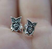 Owl Post Earrings - 925 Sterling Silver - Stud Hoot Owl Graduation Jewelry