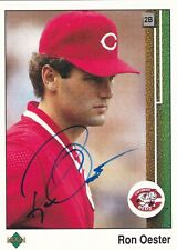 RON OESTER CINCINNATI REDS SIGNED AUTOGRAPHED 1989 UPPER DECK BASEBALL CARD