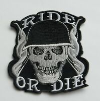 Ride or Die Biker Skull Embroidered Patch 3.5 inches