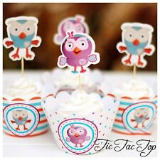 🦉12x Giggle and Hoot Hootabelle Cupcake Topper + Wrapper. Party Supplies Lolly