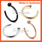 Titanium Surgical Steel Silver Gold Rose Black Nose Stud Ring Open Hoop Piercing