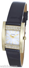 GUESS Women's Crystal-Accented Gold-Tone Black Leather Strap Watch U0127L2