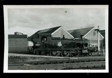 Railway British Rail steam loco engine 5536 + train Swindon RP plain back 1954