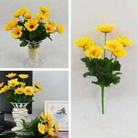 7 Head Charm Fake Sunflower Artificial Silk Flower Bouquet Wedding Floral、