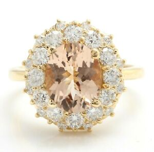 4.30 Carat Natural Morganite and Diamonds in 14K Solid Yellow Gold Women's Ring