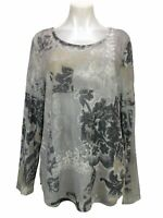 Chico's 2 Women's Size L Metallic Shimmer Long Sleeve Floral Beaded Thin Sweater